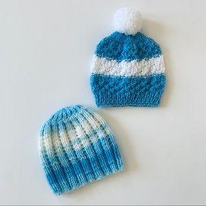 Hand knit baby beanies newborn size